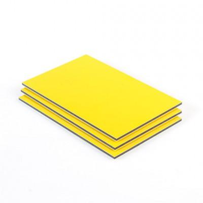 Dibond aluminium sandwichplaat geel mat glans