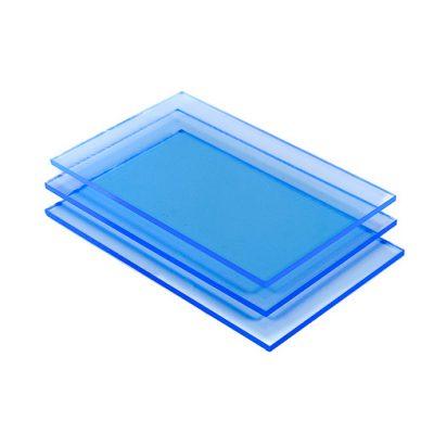 Blauw fluor Plexiglas detail