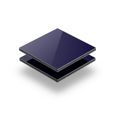 Donkerblauw aluminium sandwichplaat RAL 5022