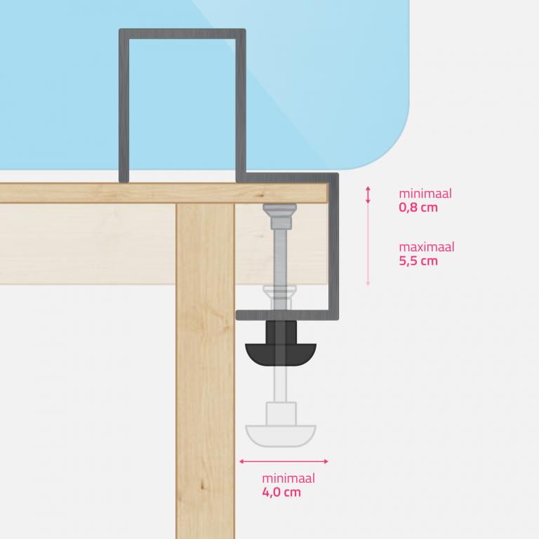 Set klemmen voor plexiglas specificaties