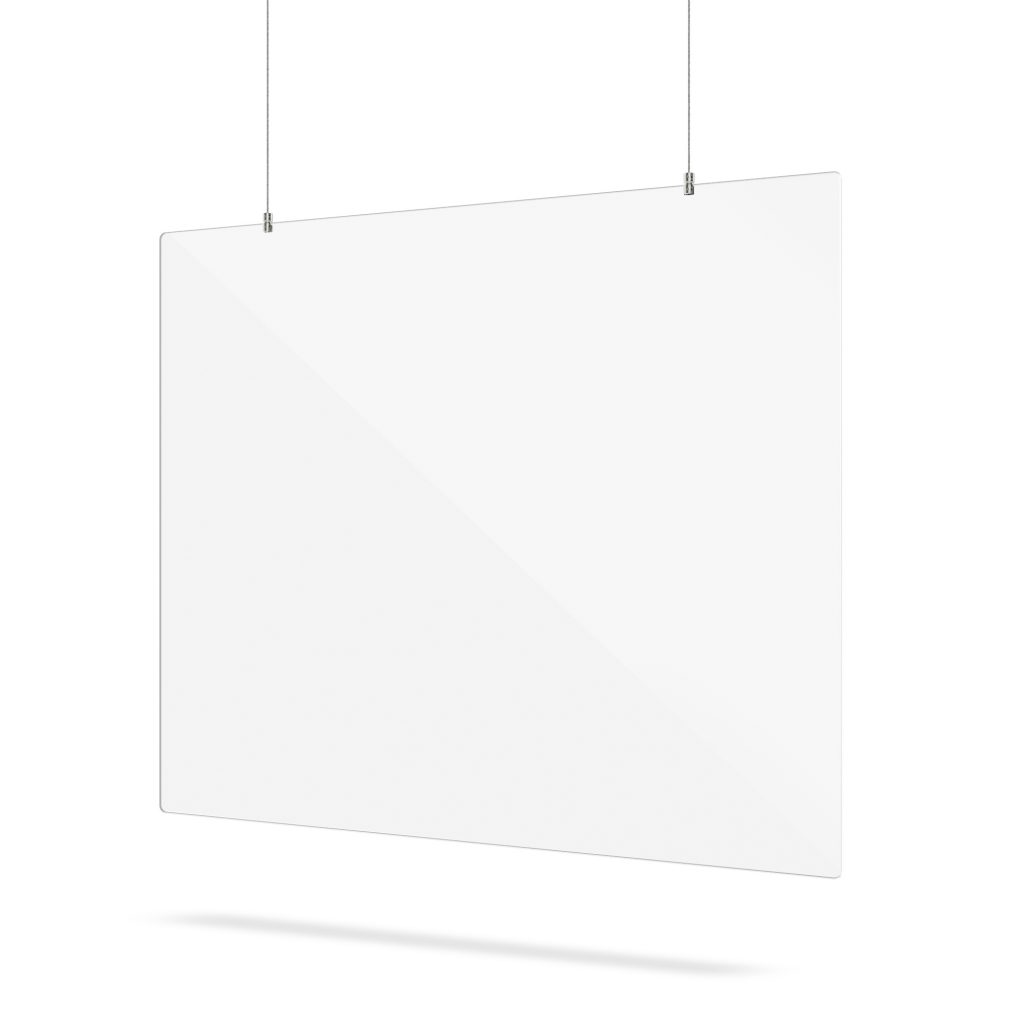 Plexiglas scherm hangend met ophangsysteem